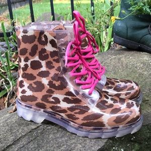 Bongo clear plastic boots with animal print